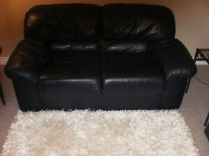 Blue Leather love seat Sarnia Sarnia Area image 1