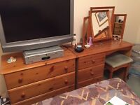 Pine 3 Drawer Dressing Table, Stool and Mirror