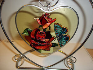 Unique Stained Glass Heart Shaped Candle Holder.