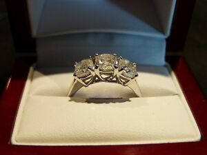 2.13ct 14K White Gold Trinity Diamond Ring, Reg. $7000 London Ontario image 1