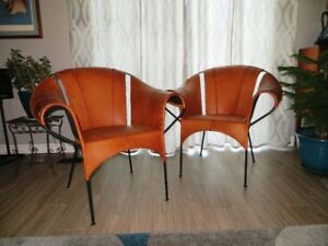 Mid Mod Leather Bucket Chairs