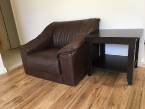 Real brown leather sofa chair and night  table for sale
