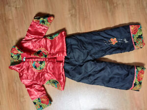 Traditional Chinese winter outfit for toddler girls