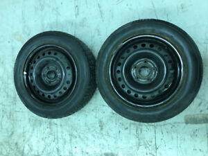 2 - 205 60R 16 Winter Tires on rims - $80 - last 2 photos new
