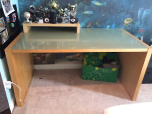 Large IKEA Desk with glass top