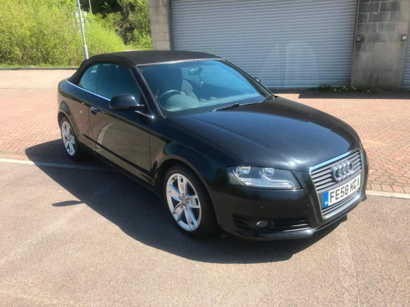 2009 58 audi a3 cabriolet convertible 1 9tdi sport jet black in blackwood caerphilly gumtree. Black Bedroom Furniture Sets. Home Design Ideas