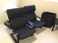 2x poang arm chair with footrest