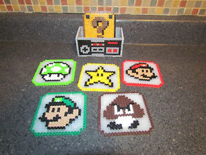 Handmade Nintendo Character Coasters with NES Controller Holder