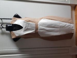 Women's Dress knee length in White & Camel. BRAND NEW
