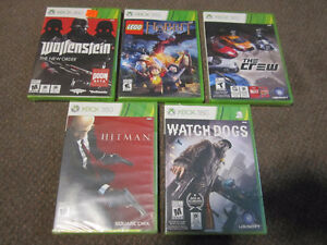 XBox 360 -Wolfenstein, Lego Hobbit, The Crew, Watch Dogs, Hitm_n