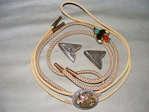 2 BOLO TIES & SILVERPLATED COLLAR TIPS - 1 LOT ONLY