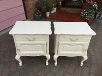 FRENCH STYLE BEDSIDE CUPBOARDS NEED TLC