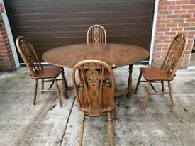 Wooden drop leaf table and 4 chairs