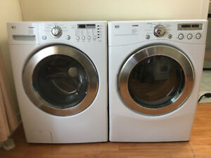 2015 Lg glass front load washer electric dryer white stackable