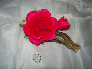 VINTAGE CAPODIMONTE PORCELAIN ROSE MADE IN ITALY BIRKS BOX