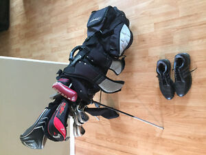 Full set of Callaway irons, driver, 5wood, putter, bag and shoes