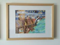 Framed Original Watercolor of Granville Island Market