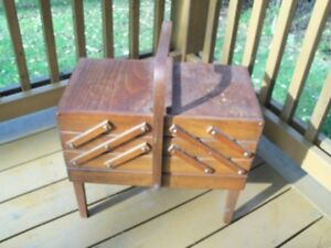 Vintage Accordion Fold-Out Wood Sewing Chest--nice LARGE size!