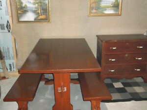 COTTAGE STYLE TABLE WITH TWO BENCHES