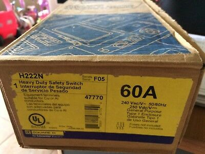 New Square D H222n 60 Amp 240 Volt Fusible Single Phase Safety Switch Disconnect