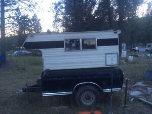 Small camper on full size ford box $700 OBO or TRADE for quad