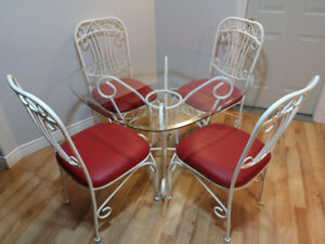 Dining room table set with 4 newly upholstered chairs