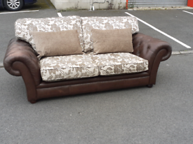 Chesterfield Style Leather and Pattern Fabric 3 Seater Sofa