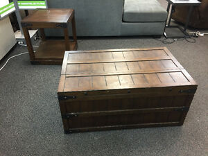 Trunk style coffee and end tables