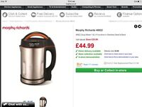 Morphy Richards soup maker 1.6 L stainless steel used once
