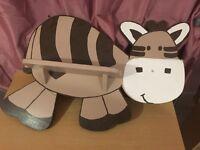 Mothercare style zeddy zebra baby nursery shelf