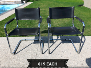 Chrome and Faux Leather Chairs *Delivery Available*