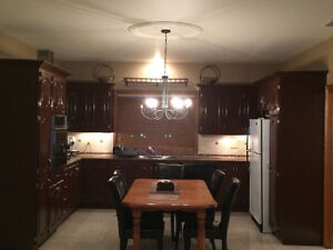 Oak kitchen cabinets and granite counter tops and fixtures