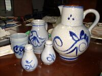 group of pottery items