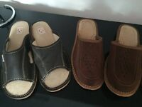 Mens 100% Leather Slip On Sandals Slippers Size 6
