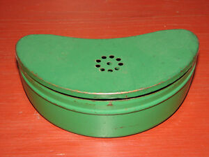 Vintage Metal Hinged Lidded Bait Box Can, Kidney Shaped Original