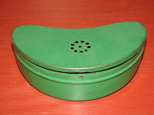 Vintage Metal Hinged Lidded Bait Box Can, Kidney Shaped Original