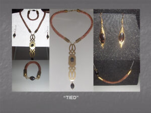 """Tied"" Collection - Handcrafted Necklace, Bracelet, Earrings"