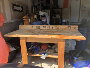 Solid wood work bench