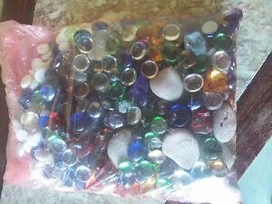 Large bag full of assorted decorative stones marbles