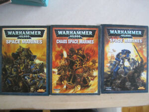 WARHAMMER 40K 3 LIVRES CODEX SPACE MARINES & CHAOS SPACE MARINES