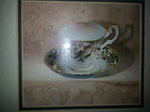 Beautiful matching pair of tea cup signed prints Belleville Belleville Area image 2