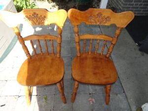 Chair - Dining Table Chairs, Stained Hard Wood, Carved Back, Set