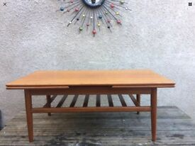 Mid Century Retro Teak Danish Extending Metamorphic Draw Leaf Coffee Table