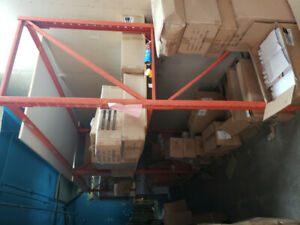 Pallet metal racking with wooden boards