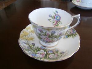 SWEET ROYAL ALBERT 'FRINGED GENTIAN' CUP & SAUCER