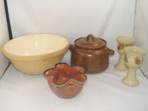 Vintage Pottery Dishes Gripstand Large Mixing Bowl Wine Goblets