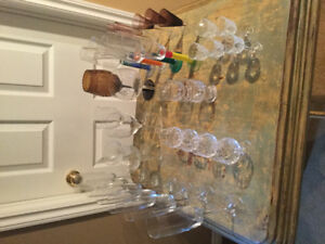 Assorted bar glasses, wine decanter, wine stopper