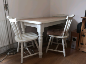 Rustic farmhouse dining table with 4 chairs