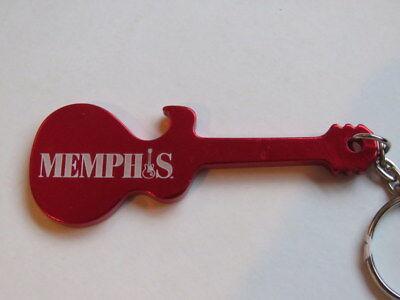 Llavero Metal Tapa Botella Abridor ~ Memphis,Tennesse Turismo Promoción Guitarra