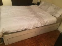 King size bed including mattress and foam mattress topper